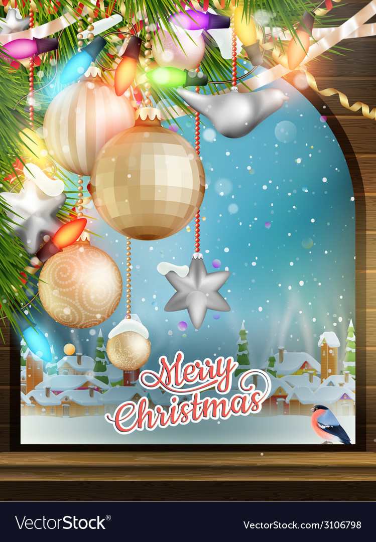 Christmas theme - window with a kind eps 10 vector | Price: 3 Credit (USD $3)