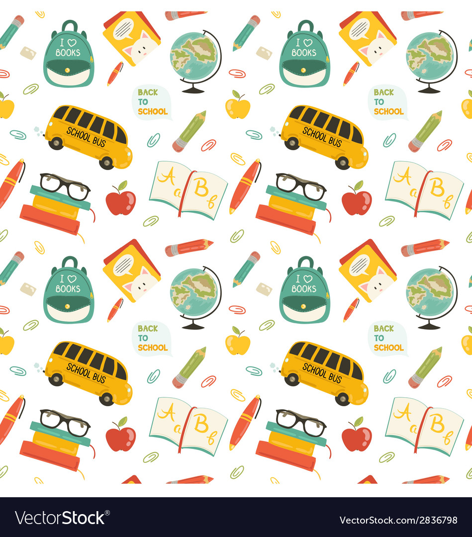Cute school cartoon seamless pattern vector | Price: 1 Credit (USD $1)
