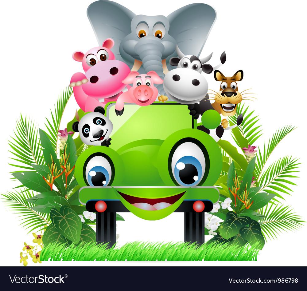 Funny animal cartoon in green car vector | Price: 1 Credit (USD $1)