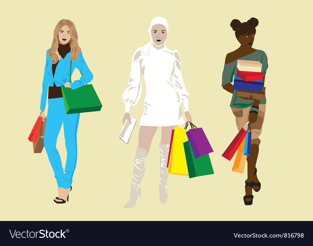 Girl with shopping vector | Price: 1 Credit (USD $1)