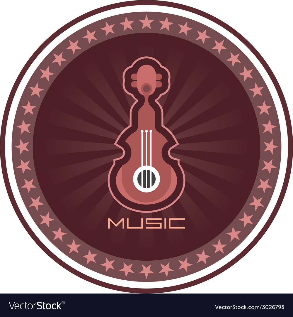 Guitar round emblem vector | Price: 1 Credit (USD $1)