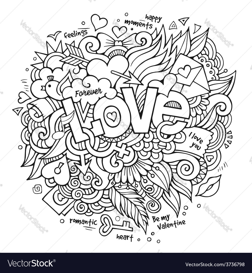 Love hand lettering and doodles elements vector | Price: 1 Credit (USD $1)