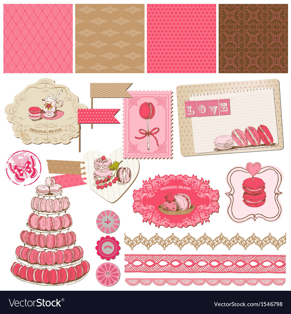 Macaroons and dessert collection vector | Price: 1 Credit (USD $1)