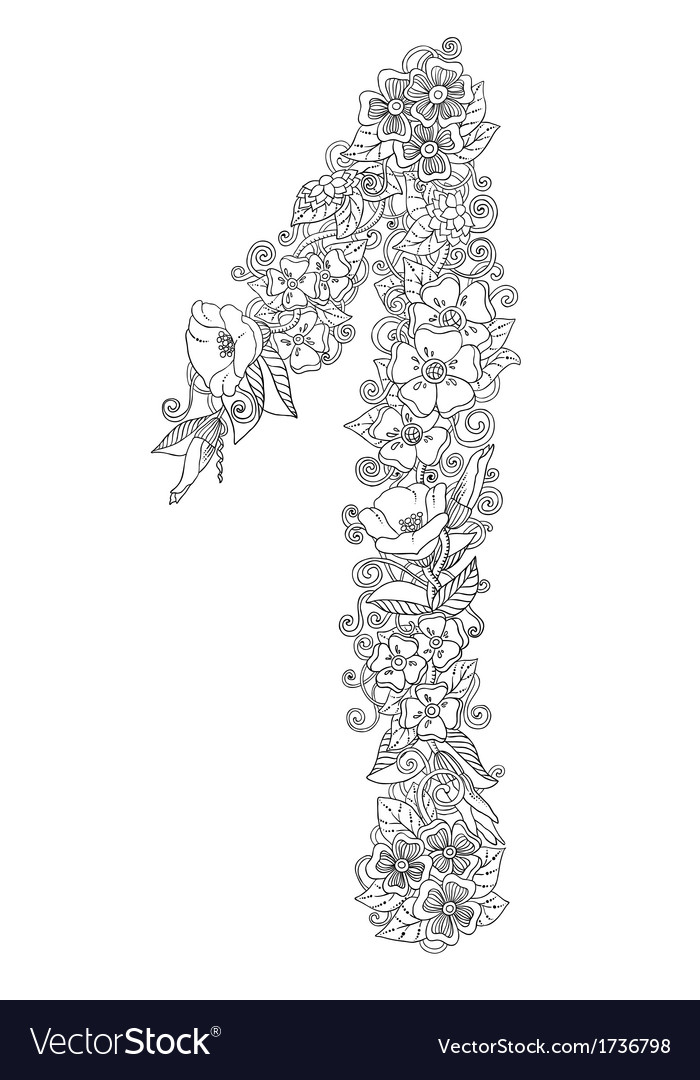 Number one of floral elements in shades of gray vector | Price: 1 Credit (USD $1)