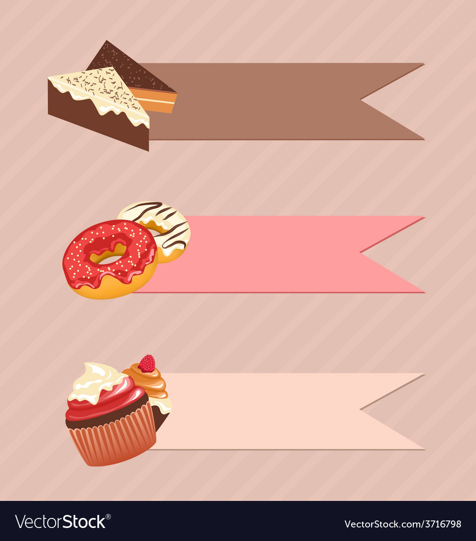 Three frames with confectionery on beige vector | Price: 1 Credit (USD $1)