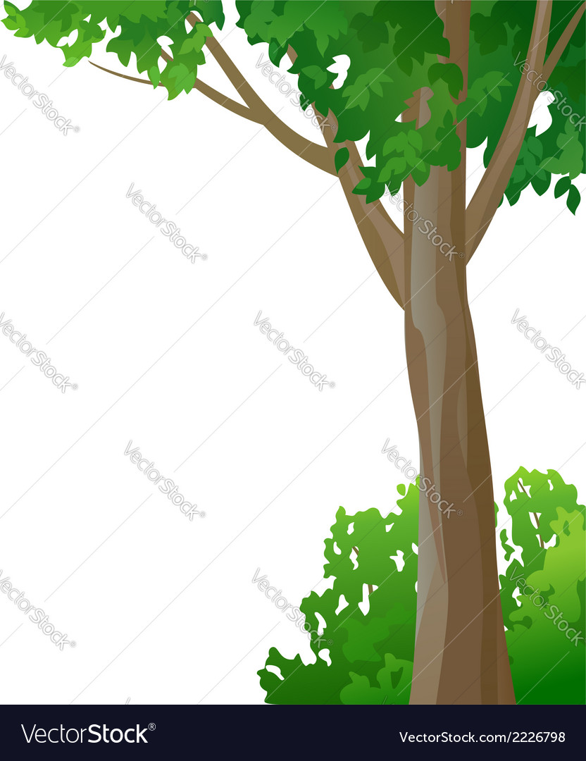 Tree and bush on a white background vector | Price: 1 Credit (USD $1)