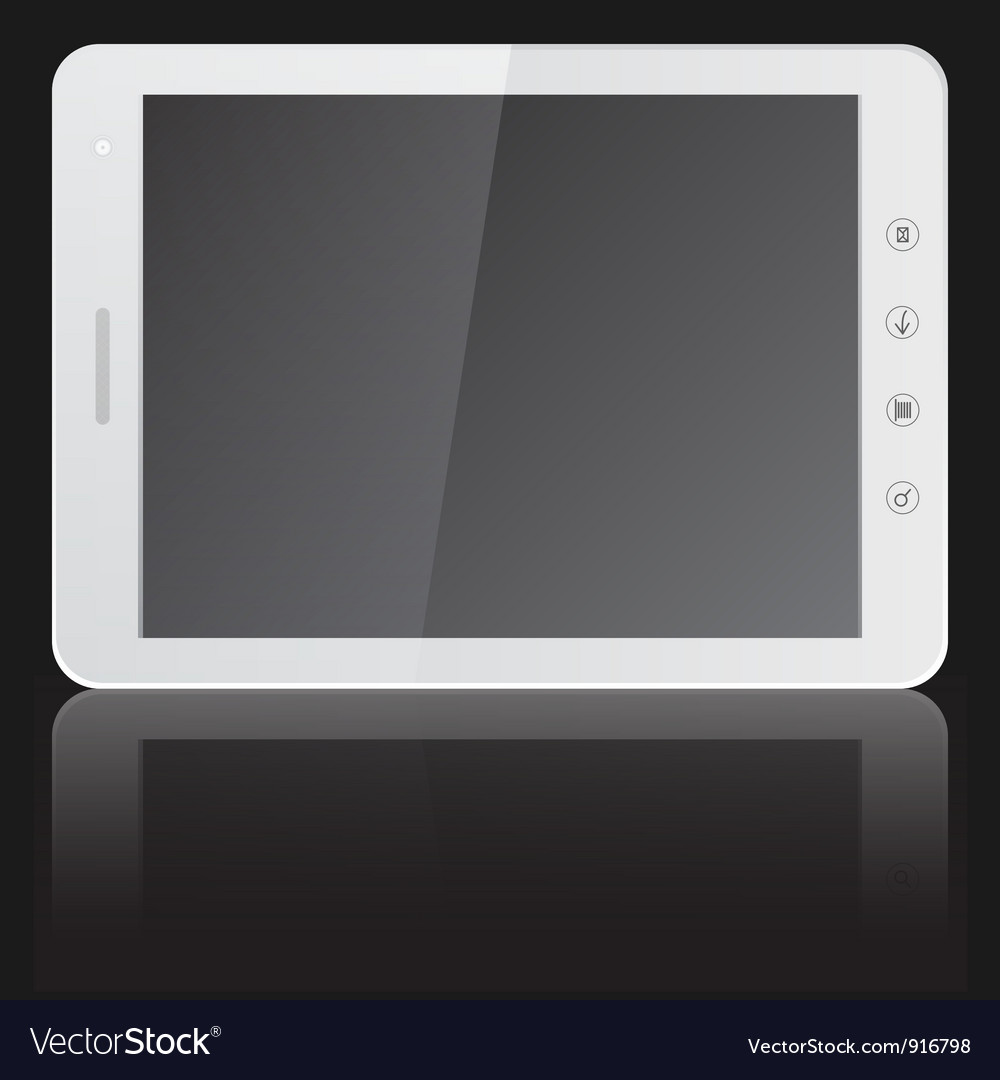White tablet pc computer with blank screen horizon vector | Price: 1 Credit (USD $1)