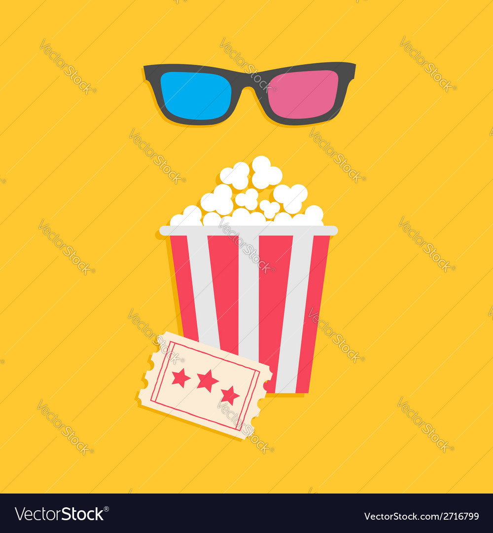 3d glasses big popcorn and ticket cinema icon in vector | Price: 1 Credit (USD $1)