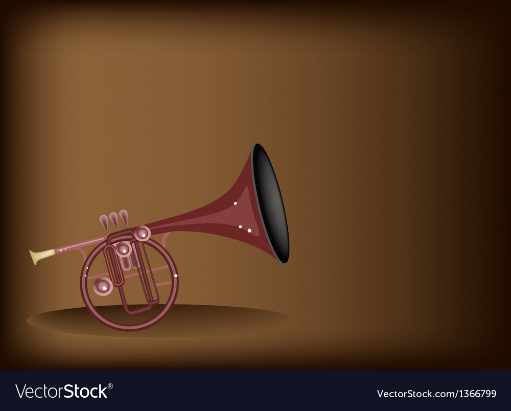 A musical straight mellophone on brown background vector | Price: 1 Credit (USD $1)