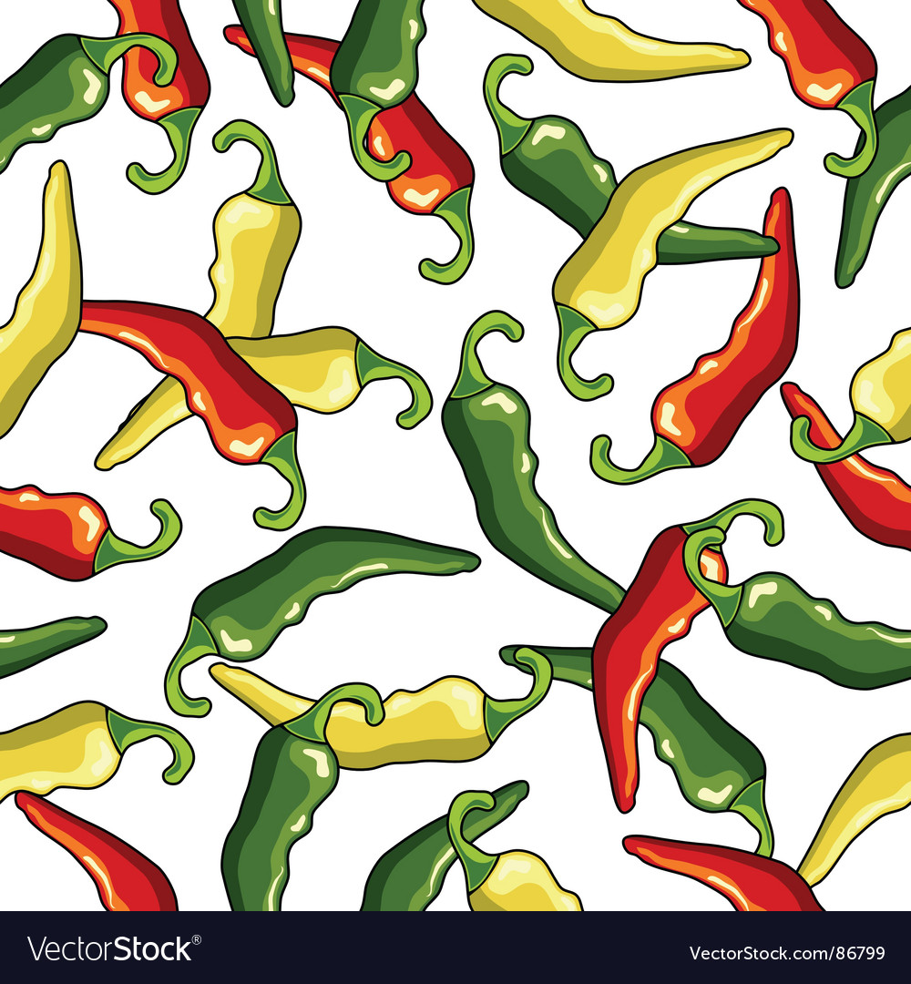 Chili peppers seamless pattern vector | Price: 1 Credit (USD $1)