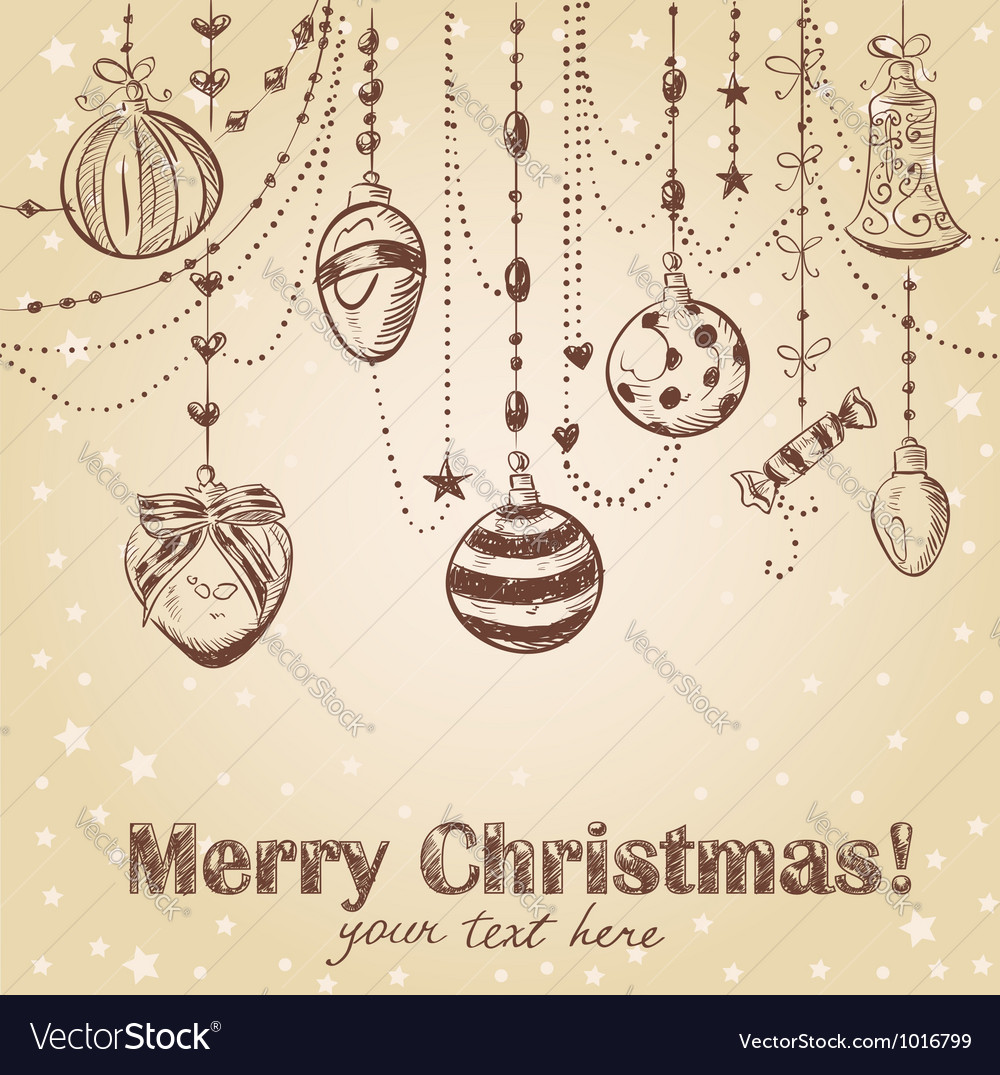 Christmas hand drawn decorative postcard vector | Price: 1 Credit (USD $1)