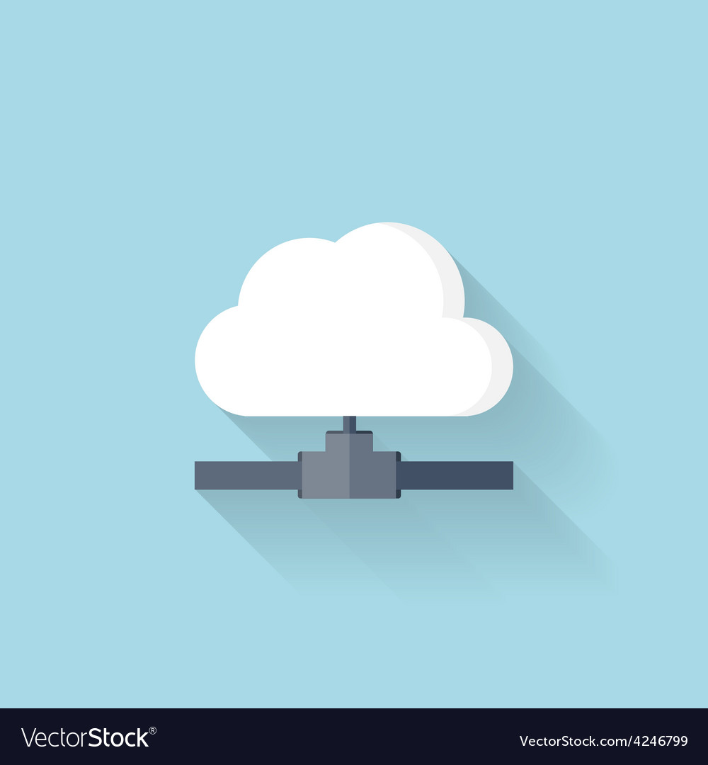 Flat web icon cloud computing net vector | Price: 1 Credit (USD $1)