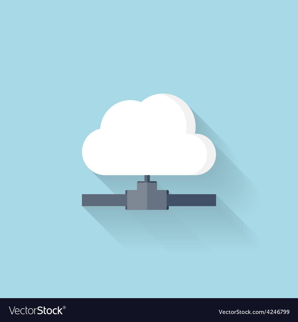 Flat web icon cloud computing net vector | Price: 1 Credit (USD $1)