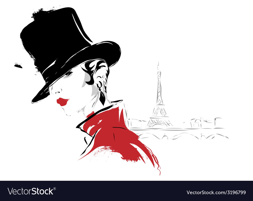 Modern girl in paris sketch vector | Price: 1 Credit (USD $1)