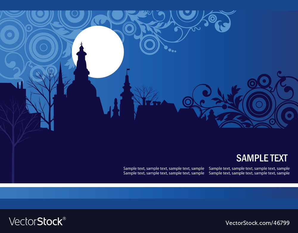 Night panorama of the city vector | Price: 1 Credit (USD $1)