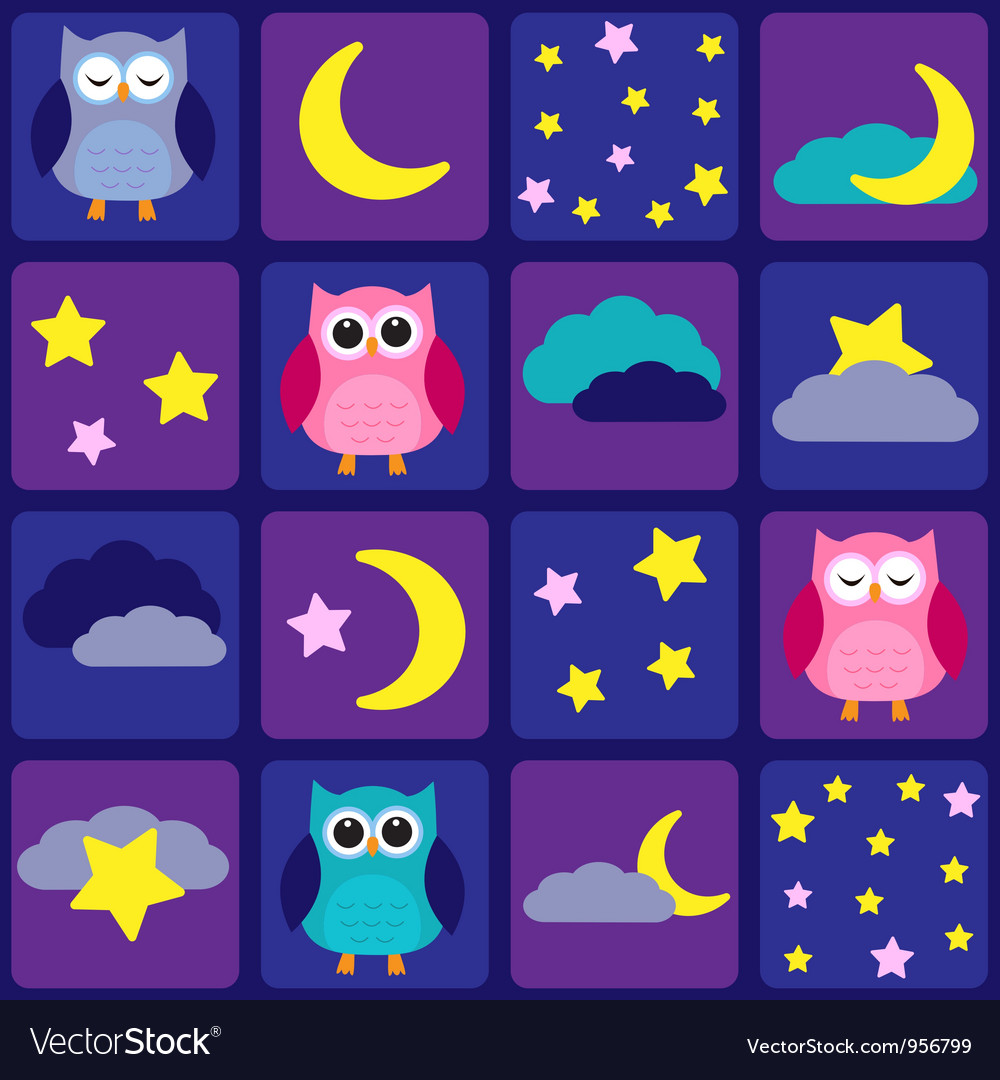 Night sky with owls vector | Price: 1 Credit (USD $1)