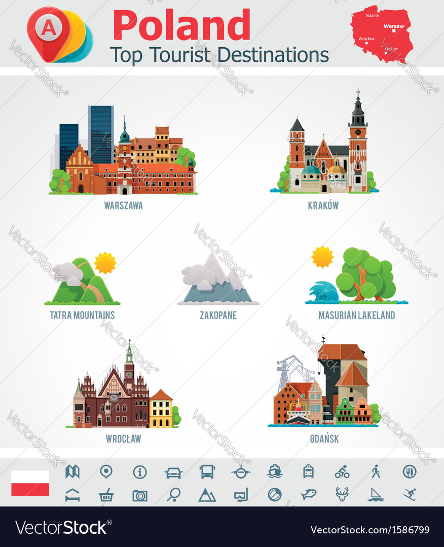 Poland travel destinations icon set vector | Price: 1 Credit (USD $1)