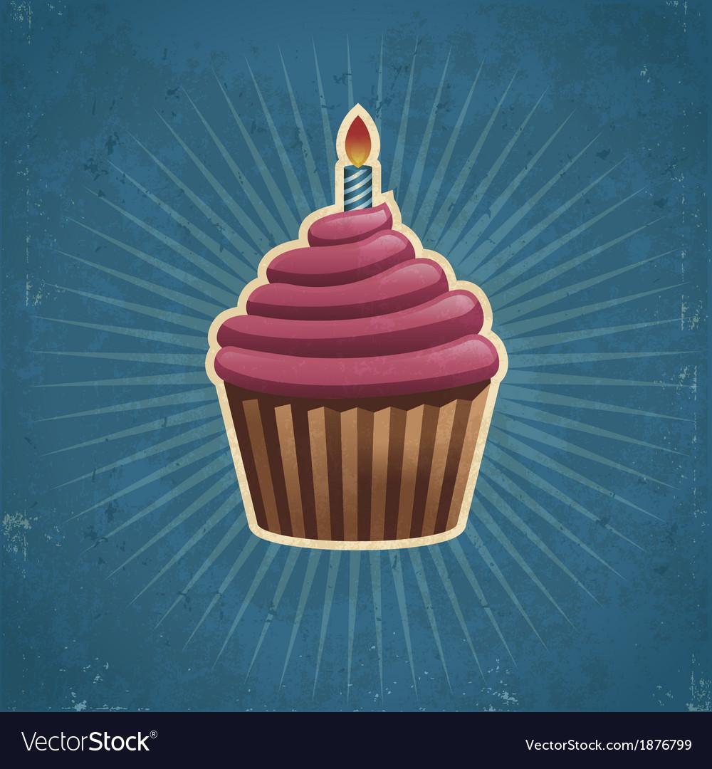 Retro birthday cupcake vector   Price: 1 Credit (USD $1)