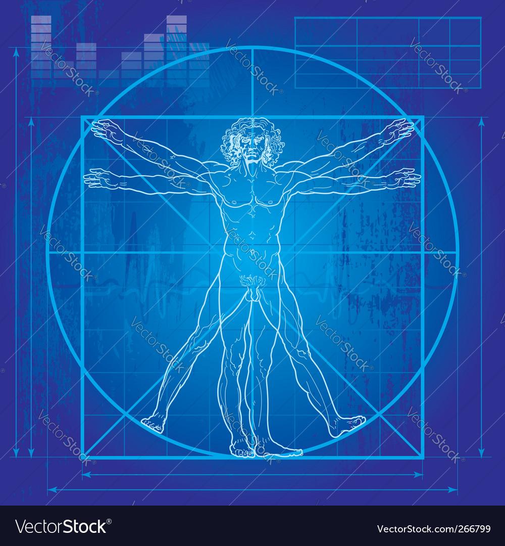 Vitruvian man blueprint version vector