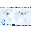 Set flags of eu countries on world map vector