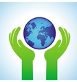 Ecology concept - hands holding globe icon vector