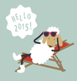 Holiday card with cute sheep vector