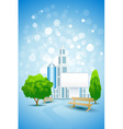 Blue background with city landscape and billboard vector