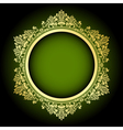 Green and gold frame vector