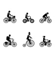 Bike riders silhouettes vector