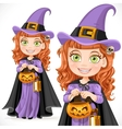 Cute girl witch trick or treat vector
