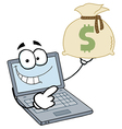 Laptop cartoon character displays money bag vector