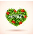 Heart shape label made of leafs romantic label vector