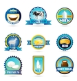 Eco farm milk dairy products labels vector