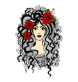 Beautiful woman with red flowers in hair vector