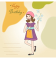 Pretty girl with gift and flowers birthday card vector