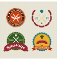 Sausage badges vintage set vector