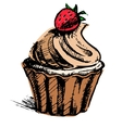 Creamy cup cake with delicious berry vector