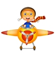 Little boy cartoon operating a plane vector