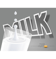 Glass of milk on a gray background black white vector