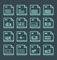 File formats minimal outline design icons set vector