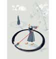 Zen monk painting a circle vector