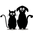 Cute cat and dog silhouette vector