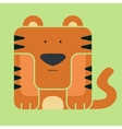 Flat square icon of a cute tiger vector