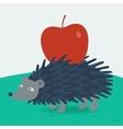 Forest hedgehog carries apple vector