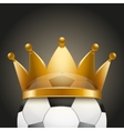 Background of soccer ball with royal crown vector