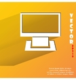 Computer flat modern web button with long shadow vector