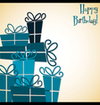 Bright stack of presents card in format vector