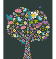Spring tree flower shape vector