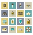 Cyber defense flat icons set with shadows vector