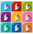 Buttons with hand signs vector